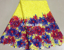 Wholesale Multi Colored Lace Fabric - African guipure lace fabric  cupion lace multi color water soluble cord lace for party DH9302