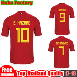 Wholesale Thailand Wholesale Jerseys - free DHLm 2018 Belgiu World Cup jersey top Thailand Quality LUKAKU FELLAINI E.HAZARD DE BRUYNE Soccer Jersey Belgium football shirt plus XXL