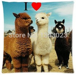 Wholesale Funny Pillowcases - Wholesale-Llama We Are Friends Animal Funny Quotes Zippered Pillowcase Rectangle Size 18X18 Inch Twin Sides Printing