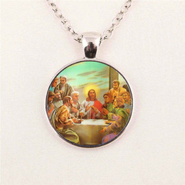 Wholesale Baby Jesus - Blessed Virgin Mary Mother of Baby necklace Jesus Christ Christian pendant Catholic Religious Glass Tile pendant glass gemstone necklace 58