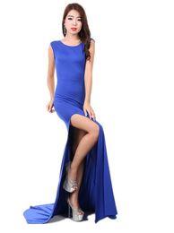 Maxi kleid modern online-Frauen Modern Slit Fishtail Abendkleid Hot Sexy Cocktailkleider Backless Round Kragen Robe Dress Wrap Dress abnehmen
