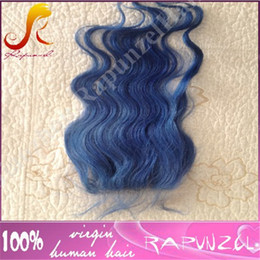 "Wholesale Short Dark Blue Hair - 4""x4"" blue color Virgin Brazilian silky straight Human Hair Bundle With Pure Blue Lace Closure Bleached Knots Free Part With Baby Hair"