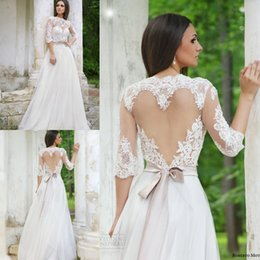 Wholesale Heart Missing - Elegant 2016 Lace Wedding Dresses Half Sleeves High Neck Heart-shaped Keyhole Illusion tulle Open Back Wedding Gowns Beach Bridal Dress