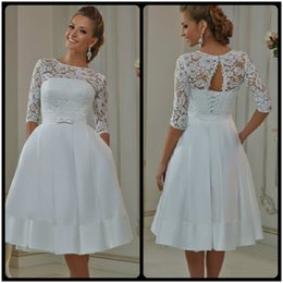 Wholesale Wraps Match Dresses - 2016 White Ivory New Custom Matched Bow Sash Knee Length A Line 3 4 Sleeve Lace Short Vintage Wedding Dresses Bridal Gowns