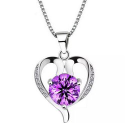 пурпурные бриллиантовые подвески Скидка Стерлингового серебра 925 высший сорт Алмаз любовь кулон ожерелье фиолетовый/серебро для свадебное платье наборы партии