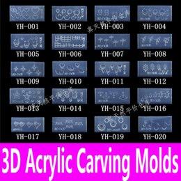 Padrão de unhas acrílicas on-line-Atacado-1piece 3d Acrílico Nail Carving Molde Nail Art Template em 139 Designs Pattern Decoração DIY Silicon Gel para Adesivos Atacado