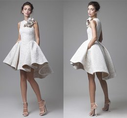 Wholesale Green Pleated Mini Skirt - Magic Show Sample Cheap Krikor Jabotian Lace Evening Dresses White High Low Prom Dresses Short Mini Cocktail Party Dress Asymmetrical Skirt