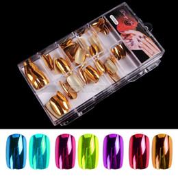 Wholesale Coloured Acrylic Nails - Wholesale-Free Shipping 70 Pcs False Acrylic Gel French Nail Art Tip Salon Set Kit DIY Tool 7 Colours 2015 New Arrival Promotion