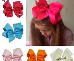 Wholesale Boutique For Sale - hot sale fashion 40 Pcs lot 6inch Solid Hair Bow With Clip,Ribbon Hair Bow Hair Clip For Baby,Girls Boutique Hair Bow