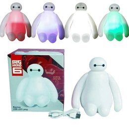Wholesale Nightlight Gifts - PrettyBaby Color Changing Big Hero 6 Baymax USB LED Table Light Creative Desk Lamp 16cm Cartoon Nightlight Kids Gift Home Decor in stock