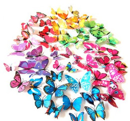 Wholesale Wall Decal Bamboo - Wall Stickers Home Decor Home Accessories 12pcs 3D PVC Butterflies DIY Butterfly Art Decal Home Decor Fridge Magnets Lot Fashion Cute 3D a