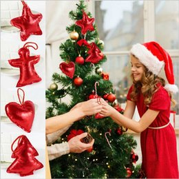 Wholesale Heart Shaped Ornaments - 4 Shape Tree Star Heart Angel For Christmas Tree Hanging Pendants Decoration Gifts Ornaments