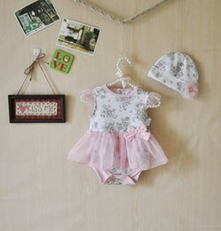Wholesale Toddler Rompers Hats - 2015 Newborn Tutu Romper Dress & hat Toddler floral Tutu Rompers Plain tutu Jumpsuits baby Romper Dress
