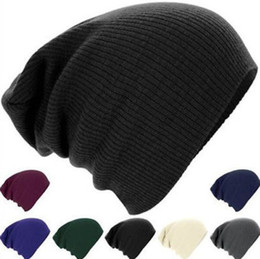 Wholesale Wholesale Skully Hats - Unisex Trendy Warm Chunky Soft Stretch Knit Slouchy Beanie Skully Winter Hat 10pcs lot Free Shipping
