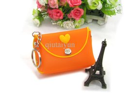 Wholesale Wholesale Acrylic Business Card Holders - Silicone Coin Purse Lovely Key Wallet Bag Silicone Money Bag Lovely color Wallet randomandmixed Free shipping WY182 200p