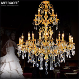 Wholesale Large Traditional Chandelier - Luxurious Gold Large Crystal Chandelier Lamp Crystal Lustre Light Fixture 3 tiers 29 Arms Hotel Lamp MD3034 D1200mm H1450mm