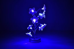 Wholesale Night Light Lily - Wholesale-Blue Mini Lily Flower Tree LED Night Light Lamp For Home Desk Festival Decoration Free Shipping YD1028Blue