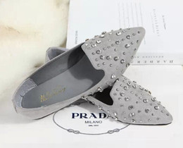 Wholesale Crystal Wedding Flats - Grey comfortable shoes Tip Head Flat Shoes Crystal Shallow mouth Flat with Nubuck leather Women's Shoes 35-39