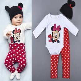 Wholesale Minnie Mouse Rompers - Retail 2015 Minnie mouse baby rompers cartoon long sleeve girls jumpsuits + hats + Polka Dot pants infant 3pcs sets newborn clothes 201509HX