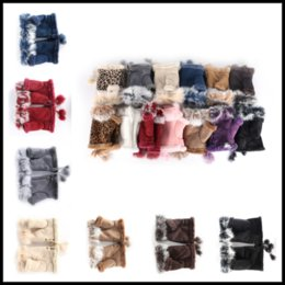 Wholesale Hand Warmers For Sale - Hot Sales Winter Warm Fingerless Gloves 16colors Rabbit Fur Hand Wrist Glove Half-fingers Mittens for Lady Women Girls