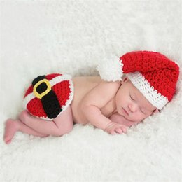 Wholesale Knit Santa Hat Baby - Newborn Baby Christmas Santa Claus Knitted Hats Costume Sets 2pcs Kids Crochet Photo Props Lovely Outfits