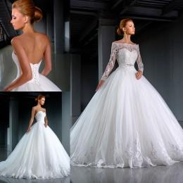 Wholesale Model Bolero Wedding Gown - 2016 Wedding Dresses with Bolero Cathedral Winter Off Shoulder Long Sleeves Jackets Sweetheart Ruffled Tulle Bridal Wedding Gowns with Sash