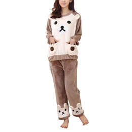 Wholesale Winter Lovely Bear Set - Wholesale- Autumn Winter Fashion Women Sleepwears Warm Flannel Pajama Set Sleepwear Lovely Bear Long Sleeve Top & Pants Casual Clothes RT5