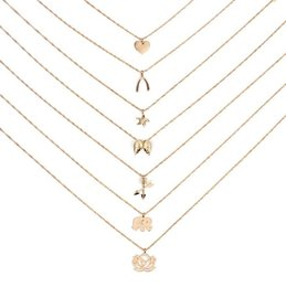 Wholesale Noble Set - Dogeared Necklace Good Luck Elephant Pendant Multi-layer Necklace Combination Set Noble and Delicate Choker Collarbone Chain Fashion Style