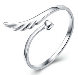 Wholesale Wholesale Single Items - 925 sterling silver items jewelry angel wing single ring open design adjustable fashion new arrival girl