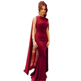 Wholesale Evening Dresses Wind - 2015 Arabic Wind Red Mermaid Prom Dresses Party Evening Dress Long Formal Gowns Spandex Wrap Side Zipper Detachable Train Custom Made