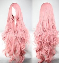 Wholesale Anime Girl Pink Curly Hair - Vocaloid Anime Wigs 2016 Cospaly Party Wig Hot Sale Pink 90CM Long Hair Accessories Products Halloween Wig Accessories New Arrive COS