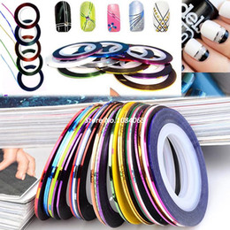 Wholesale Nail Art Tips Striping Tape - New Arrival! 2014 Profession 30Pcs Mixed Colors Rolls Striping Tape Line DIY Nail Art Tips Decoration Sticker Nail Care b4 19817
