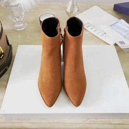 Wholesale Sexy Girls Rubber Boots - 2017 new arrival women's fashion brown short heels boots girls sexy pointed suede leather heel boots lady's casual quality boots size 8 #010