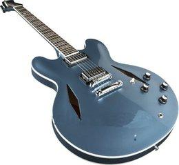 Wholesale Electric Guitars Jazz Custom - Custom Dave Grohl Signature Metallic blue Jazz Electric Guitar Hollow Body Jazz Electric Guitar