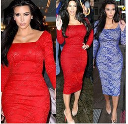 Wholesale Celebs Dresses Red - 2014 autumn women dress Ladies Celeb Evening Fitted Formal Party Ladies Pencil Bodycon Dresses