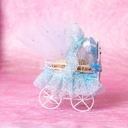 Wholesale Baby Shower Favor Box Carriage - New Baby Shower Candy Boxes Metal Pram baby carriage Shaped Box with Laces Gauze Wedding Favor Box Exclusive Cute Gift Boxes