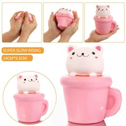 Wholesale Pussy Cupping - 20pcs Cup Cat Squishy 14CM Jumbo Kawaii Pussy Squeeze Cute Animal Slow Rising Scented Bread Cake Phone Straps Kid Toy Gift Doll Wholesale