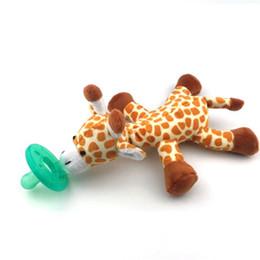 Wholesale Panda Bears Toys - Wholesale- 1PC Soft Baby Bears Elephant Panda Giraffe Toys Pacifier Toy Cute Cartoon Animal Baby Plush Pacifier Rattle