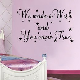 Wholesale Made Wish Sticker - We Made A Wish And You Came True wall decal 8137 decorative adesivo de parede removable vinyl wall sticker wedding decoration