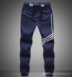 Wholesale Printed Leggings Large Size - Large size Fashion Men pants white stripe elastic waist printed mens brand man pants free shipping