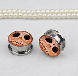 Wholesale Size Stretcher Plug - wholesale Steel amine picture ear plugs tunnels gauges stretchers piercing body jewelry 70pcs mix size