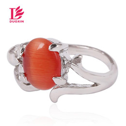 Wholesale Bulk Heart Rings - Rings For Women Multi-Style Mixed Opal Gemstone Rings Oval Platinum Plated Zinc Alloy Platinum Ring With Semi-precious Stone Wholesale Bulk