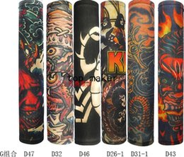 Wholesale Kind Sleeves - Wholesale- tattoo sleeves New 140 kinds of styles 20 PCS Nylon Stretchy Fake Tattoo UV basketball Arm Sleeves warmers manguito Stockings