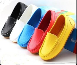 Wholesale Girls Hot Soft Red - Size 21-30 High-quality rubber Soft Sole Casual Flats Boat Shoes Hot Sale Children Shoes Kids PU Leather Sneakers Boys&Girls