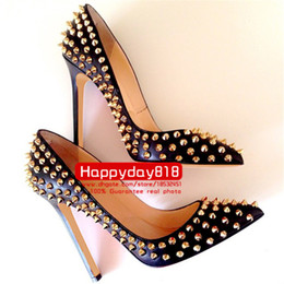 Wholesale Cone Heel Wedding Shoes - Free shipping fashion women pumps Black real matt LEATHER GOLD SPIKES RIVETS point toe high heels cone heel shoes genuine leather 120mm