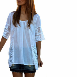 Wholesale Patchwork Half Sleeve Chiffon Top - White Blusas 2015 Summer European Style Women Elegant Chiffon Lace Patchwork Solid Shirts Half Sleeve O Neck Tops Tee Blouses FG1511