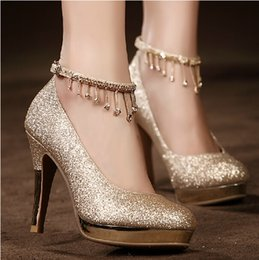 Wholesale Crystal Wedding Dress Shoes - Sparkling Golden Lace-up Wedding Bridal Shoes Crystals 10cm High Heel Wedding Party Shoes Rhinestones Prom Dress Women High-heeled Shoes