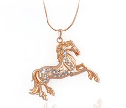 Wholesale Decorating Charms - Women Gold Pendant Necklace Austrian Crystal Necklace Alloy Animal Horse Pendant Decorated Choker Pendant Necklace Charms Jewelry New Hot