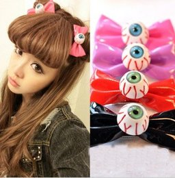 Wholesale Harajuku Bows - Harajuku Bloodshot Eyeball Leather Hair Bow Japanese Punk Hair Clips Cosplay Costume Hair Accessories HJ108