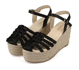 Wholesale Trendy Rubber Sandals - Trendy Plaited Straw Woven Sandals High Platform Wedge Shoes Casual 2016 Summer 3 Colors Size 35 to 39